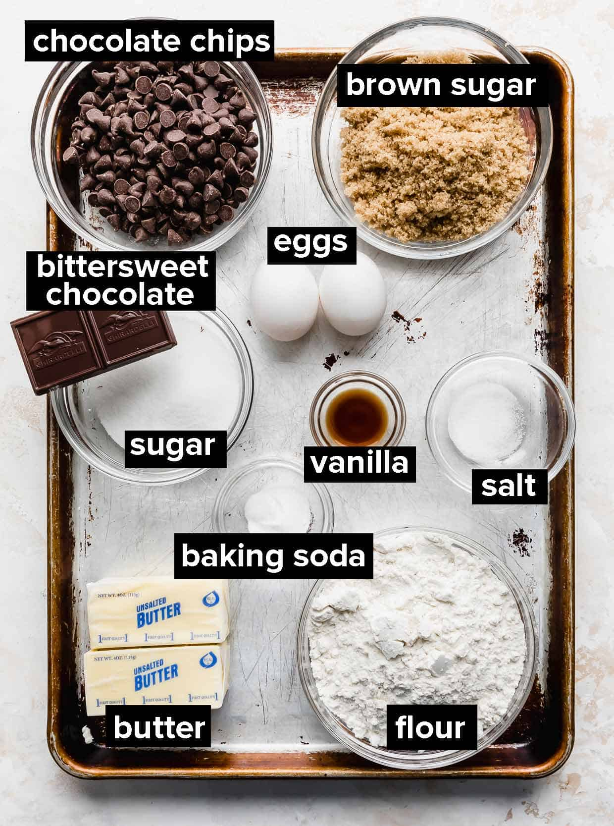 Ingredients used to make a brown butter chocolate chip skillet cookie, or a pizookie.