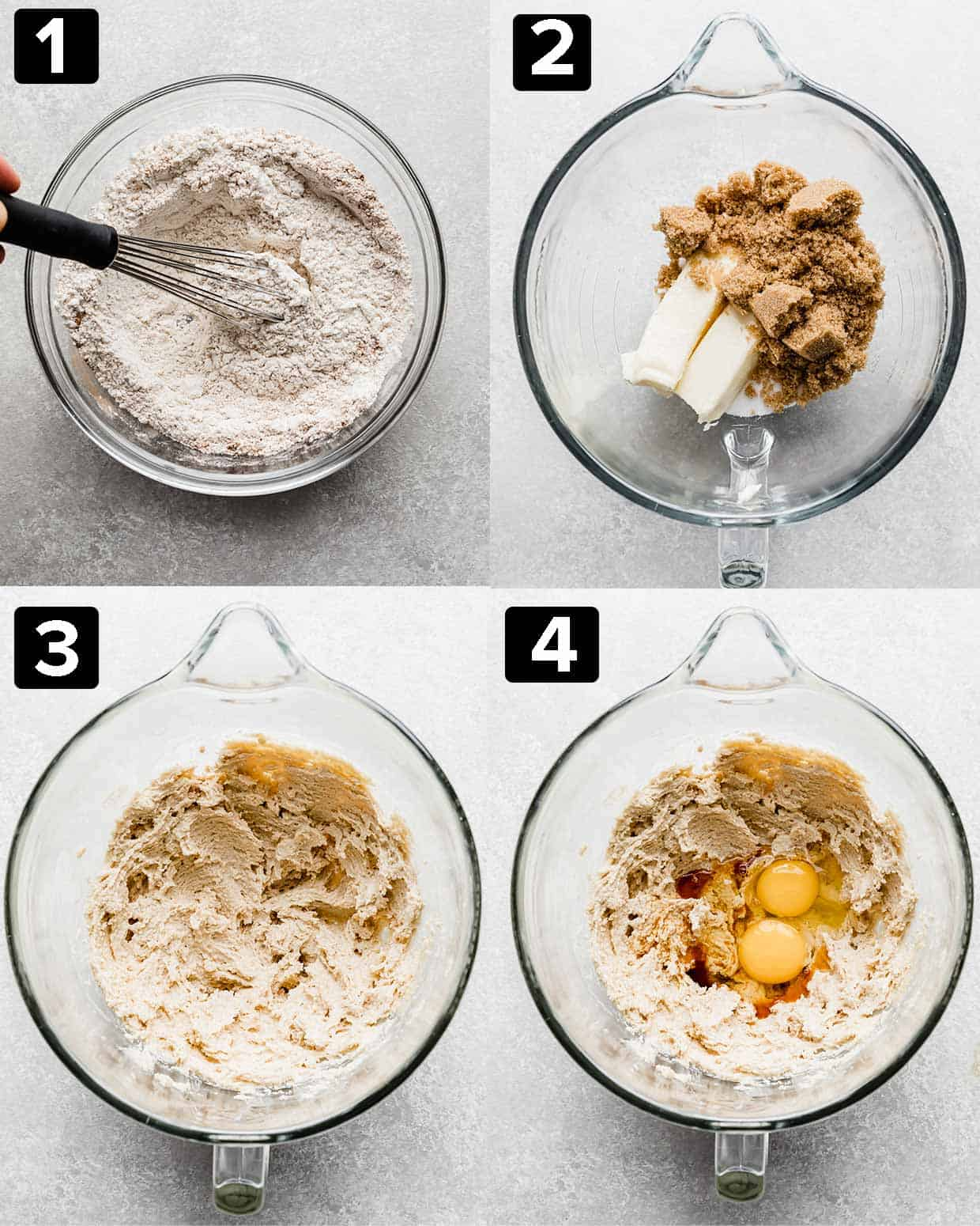 A 4 photo collage of a glass bowl and ingredients being mixed to make Oatmeal Butterscotch Cookies.