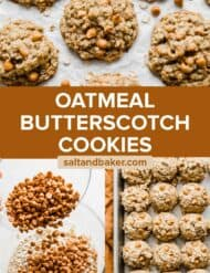 A photo collage of Oatmeal Butterscotch Cookies being made.