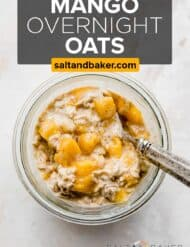 Overhead photo of mango overnight oats against a white background.