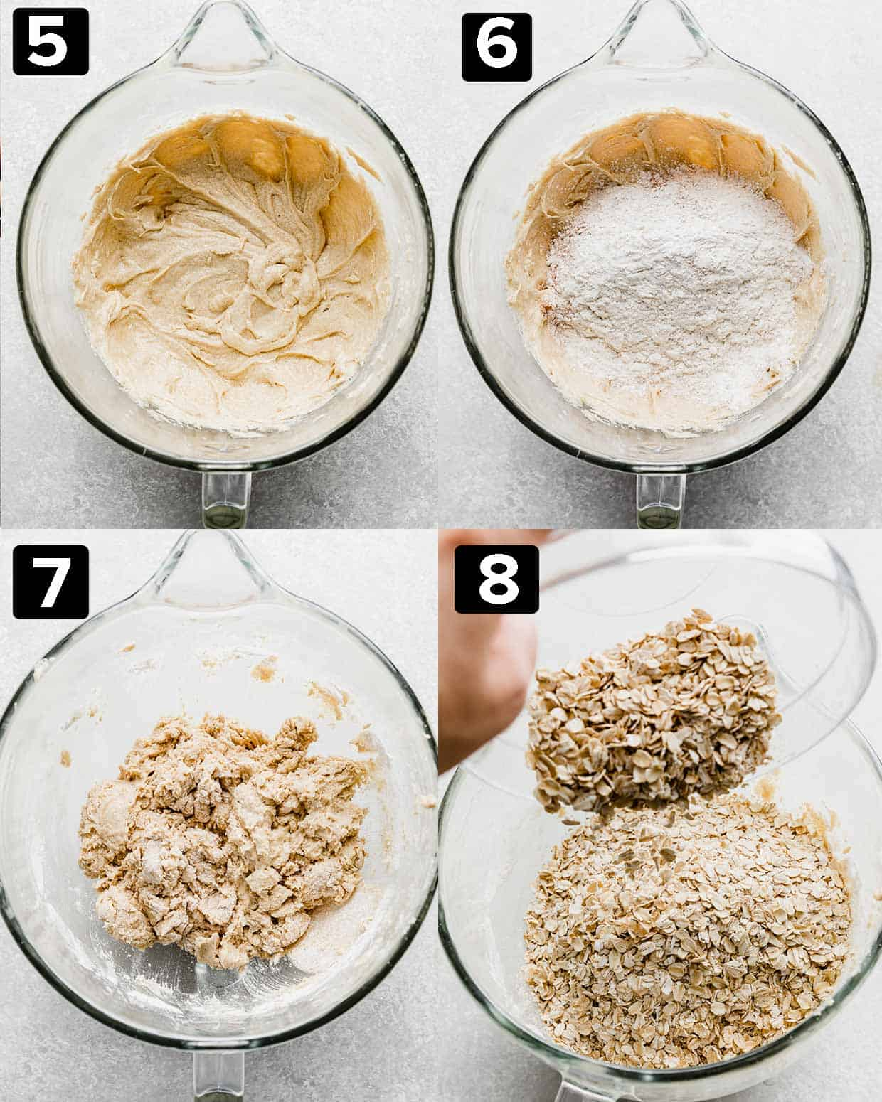 A four photo collage of a mixing bowl showing the step by step process of making Oatmeal Butterscotch Cookies.