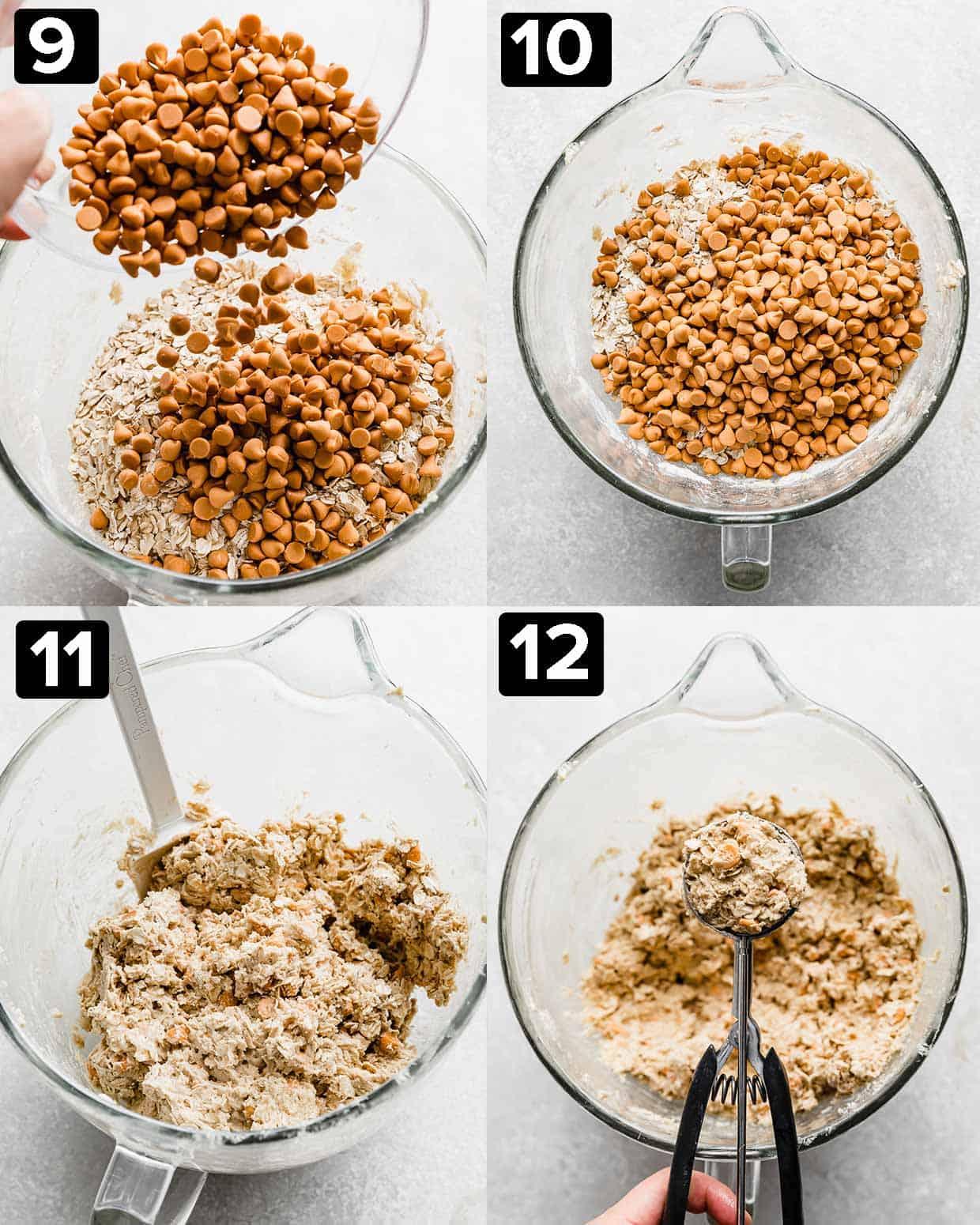 Four photos showing how to make oatmeal butterscotch cookies.