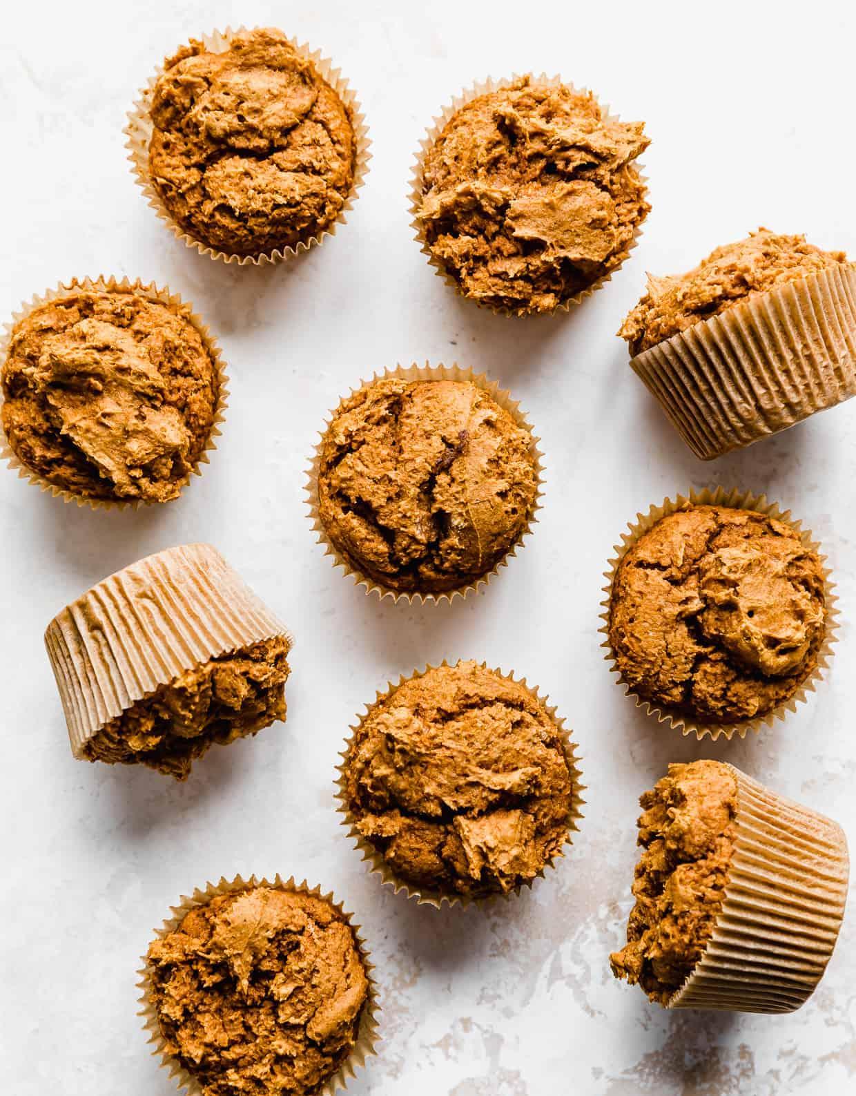 2 Ingredient Pumpkin Muffins on a white background.