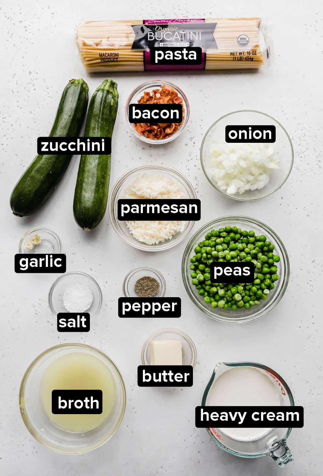 Ingredients used to make the best Pasta with Zucchini Sauce recipe on a gray background.