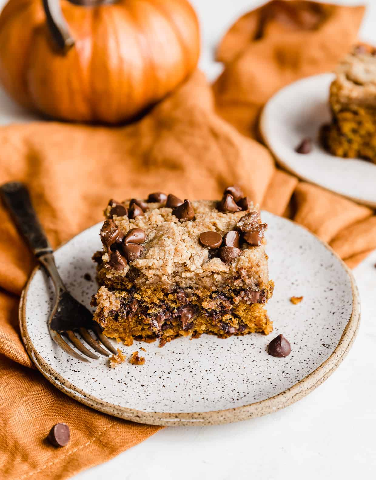A slice of Pumpkin Chocolate Chip Coffee Cake on a white plate.