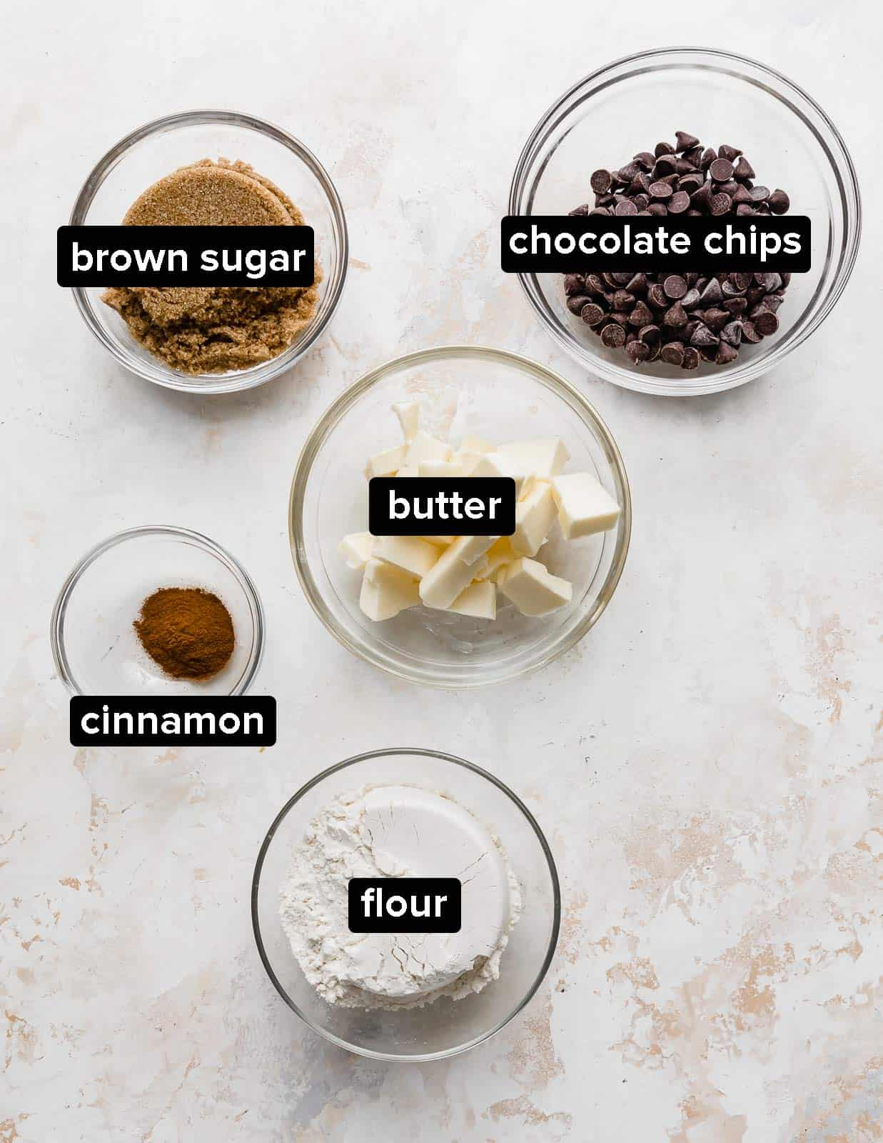 Ingredients used to make the crumble portion of a pumpkin coffee cake.