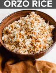 A bowl full of orzo rice.