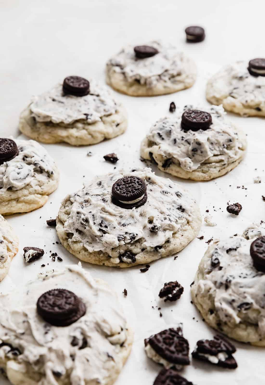 A copycat Crumbl cookies and cream milkshake cookie with a mini Oreo on top.