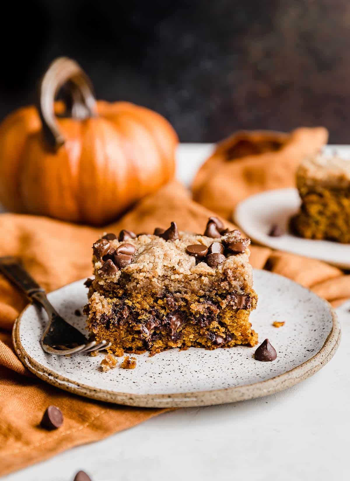 Pumpkin Chocolate Chip Coffee Cake on a white plate against a brown background.