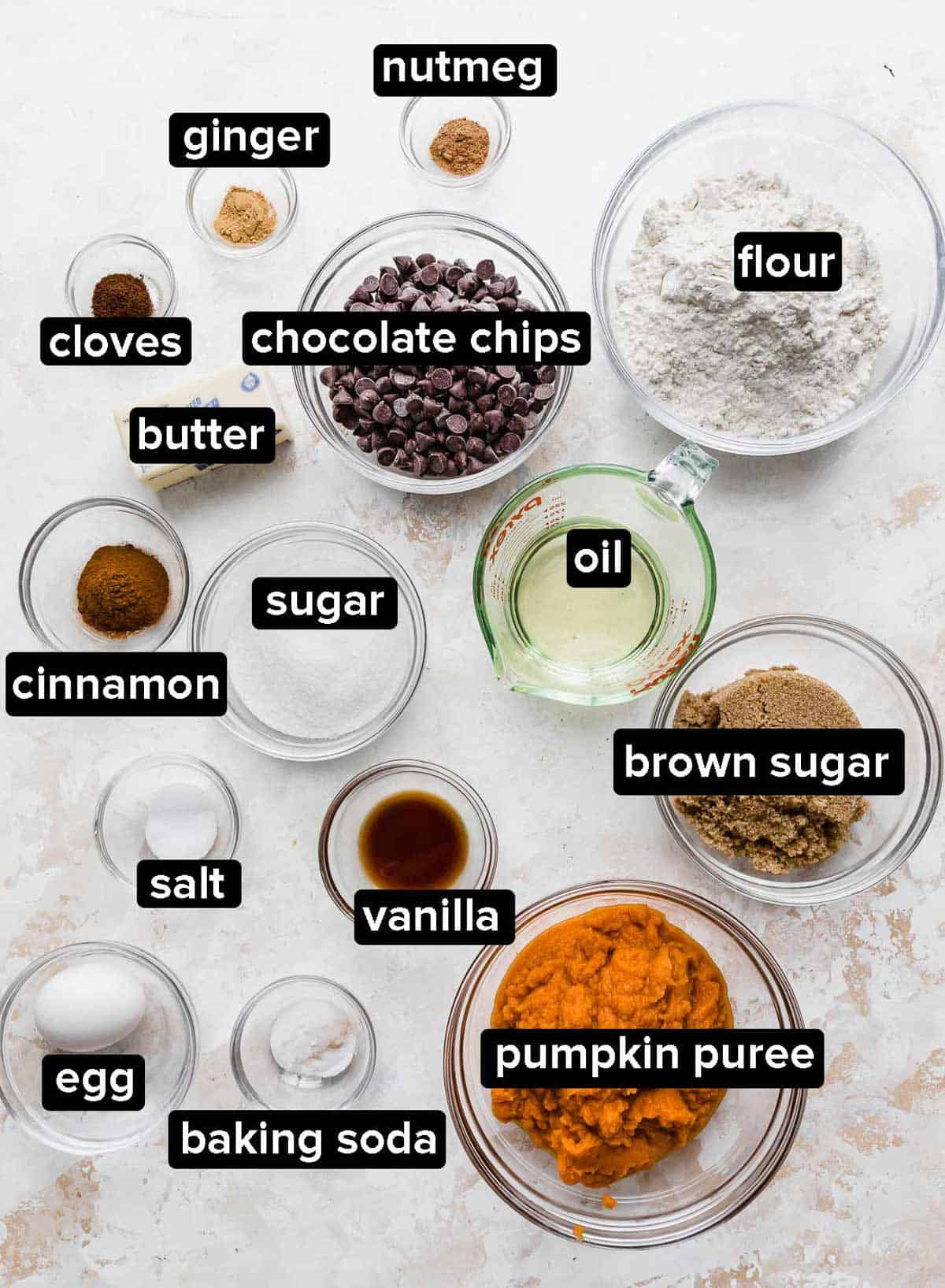 Pumpkin Chocolate Chip Coffee Cake ingredients on a cream textured background.