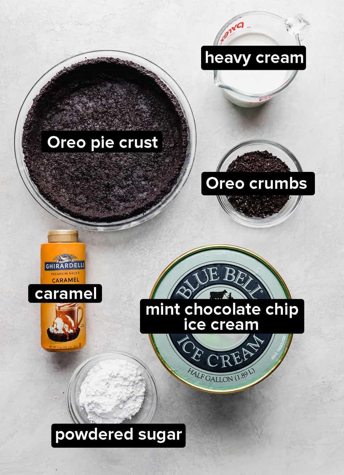 Asphalt Pie ingredients on a gray background.