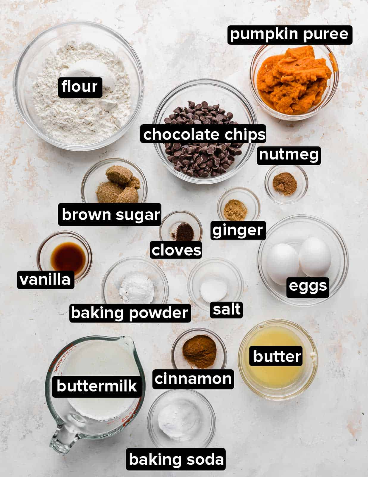 Ingredients used to make Pumpkin Chocolate Chip Pancakes on a white background.